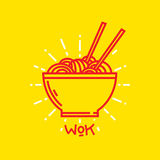 Wok noodles on plate vector graphic illustration Royalty Free Stock Photo