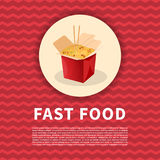 Wok with noodles poster. Cute cartoon colored picture of fast food. menu Design elements. Vector illustration of fast food Stock Photos