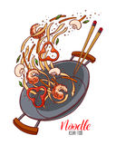 Wok pan of chinese noodles. Asian food. Wok pan of chinese noodles, shrimp, pepper and mushrooms. Hand-drawn illustration Royalty Free Stock Image