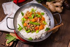 Wok pan with meat strips and vegetables Stock Photos