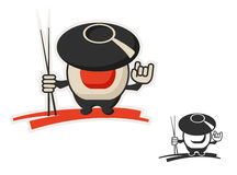Wok and roll. Vector character icon uniting wok and roll Stock Photography