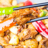 Wok spicy chicken Stock Image