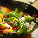 Wok stir fry Stock Images