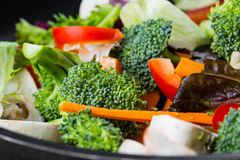 Wok stir fry. Overhead view of colorful stir fry Stock Images