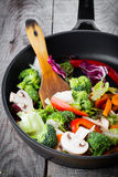 Wok stir fry. Overhead view of colorful stir fry Stock Photos