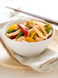 Wok. Stir fry with vegetables and squids, selective focus Royalty Free Stock Image