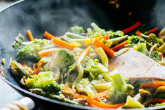 Wok stir fry with vegetables Royalty Free Stock Photo