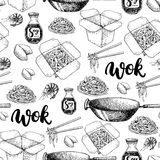 Wok vector hand drawn seamless pattern with lettering. Isolated chinese box, wok and chopsticks Stock Images