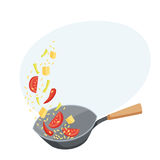 Wok an with vegetables. Wok pan with fried vegetables and rice. Cooking process vector illustration. Kitchenware and utensils isolated on white. Tasty food Stock Photo