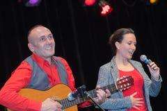 Wokalista i gitara bawić się przy koncertem Obrazy Royalty Free