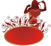 The woken up love. Heart against a silhouette of the young girl and a vegetative ornament Stock Photography