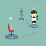 Woker past present and future. Dark shadow of person stand at past podium, businesswoman with lamp of idea stand at present podium and line person with crown who Stock Image