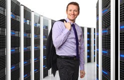 Woker and server. 3d image of datacenter with lots of server and happy worker royalty free stock photos