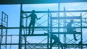 Free Woker Silhouette On Scaffold Contruction Contractor Safty Working Business Royalty Free Stock Photo - 102758225