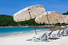 Wokoło dennego widok krzesła plażowy spojrzenie Zdjęcie Royalty Free