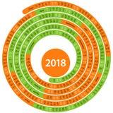 Wokoło 2018 hiszpańskich kalendarzy Obrazy Stock