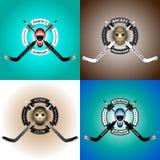 Wokoło hokeja ustawia sztandarów logotypów hokeja bramkarzów ilustracja wektor