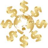 wokoło kula ziemska dolarowego symbolu Fotografia Stock