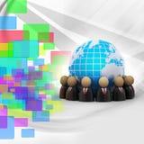 wokoło okręgu cyfrowej ziemi target365_0_ ikon ilustracyjnych ludzi Zdjęcie Royalty Free