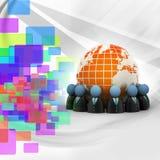 wokoło okręgu cyfrowej ziemi target365_0_ ikon ilustracyjnych ludzi Fotografia Royalty Free