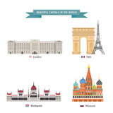 Wold capital city 02. World capitals cities buildings attraction vector illustration Stock Photos