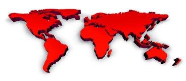 Wold czerwona Mapa 3D Obrazy Royalty Free
