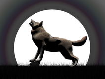 Wolf howling at night - 3D render Royalty Free Stock Photos
