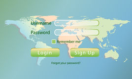 Wold login. Simple world log-in page interface Stock Image