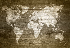 Wold map on wood texture Stock Images