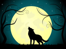 Wolf. Picture about wolf barking on the moon Royalty Free Stock Photo