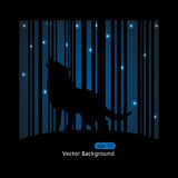 Wolf. Vector picture about wolf barking on the moon on blue striped background Stock Images