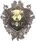 Wolf. Inside a heraldic coat of arms Royalty Free Stock Photography