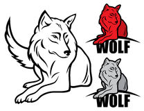 Wolf. Vector illustration of wolf in various color Stock Images