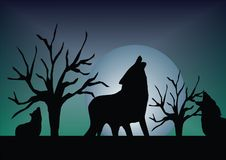 Wolf. S with full moon illustration Royalty Free Stock Photo
