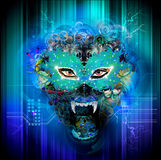 Wolf. Abstract wolf face  color bright background Stock Image