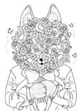 Wolf adult coloring page Stock Images