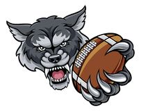 Wolf American Football Mascot Photographie stock