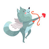 Wolf with Amoretto Wings Holds Bow and Arrows Royalty Free Stock Photos