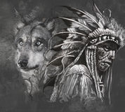 Wolf And American Indian Chief. Tattoo Stock Images