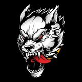 Wolf angry vector hand drawing isolated stock illustration