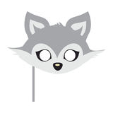 Wolf Animal Carnival Mask. Wild Gray Forest Dog. Wolf animal carnival mask vector illustration in flat style. Wild forest dog face. Funny childish masquerade Stock Image