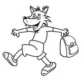 Wolf and bag, coloring book Stock Photo