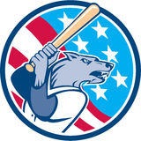 Wolf Baseball With Bat USA Stars Circle Retro Stock Photography