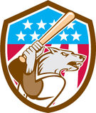 Wolf Baseball With Bat USA Stars Shield Retro Stock Images