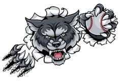 Wolf Baseball Mascot Breaking Background Photographie stock