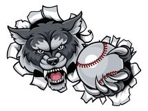 Wolf Baseball Mascot Breaking Background Illustration Libre de Droits
