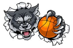 Wolf Basketball Mascot Breaking Background Illustration Libre de Droits