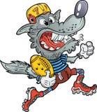 Team mascot wolf playing american football