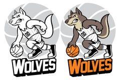 Wolf basketball mascot Stock Image