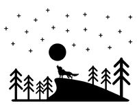 Wolf black shadow vector design for halloween day. Stock Photography